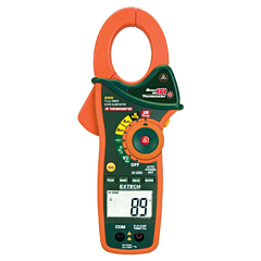 Extech Instruments EX830 Clamp-on Multimeter - 1000 AC/DCA, 600 AC/DCV, Freq, Res, Cap, Temp True-RMS + IR-Thermometer