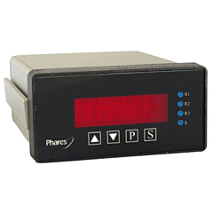 Phares T6-D 4-Digit Panel Mount Tachometer - DCV Power w/Process Outputs & 3 Relays