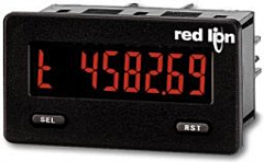 Red Lion Controls CUB5TB00 Miniature 7-Digit Timer w/Red/Green Backlit Display