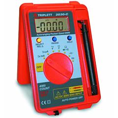 Triplett 2030-C Pocket-sized Digital Multimeter - 600 AC/DCV, 400 AC/DCmA, Res, Cap, Freq, Cont & Diode